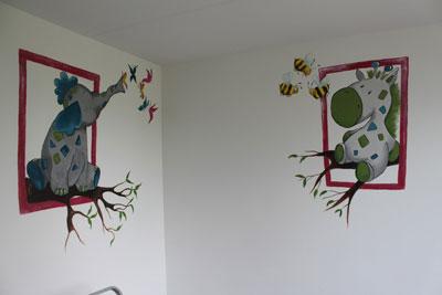 muur-olifant-en-zebra